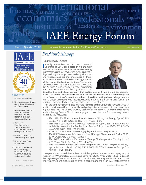 IAEE Energy Forum President`s Message on IAEE Activities and Energy Security